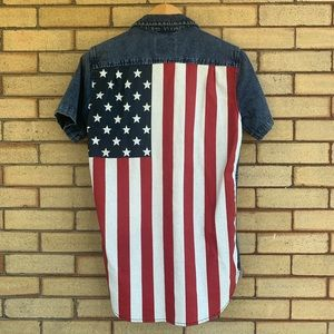 Modern Amusement American flag denim shirt GUC